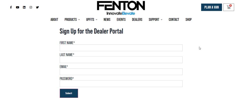 dealer portal signup form